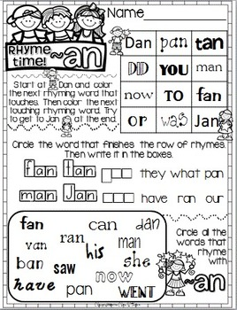 Rhyme Time Word Work for Young Learners