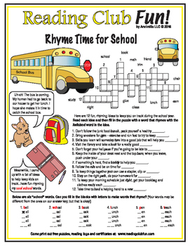 Rhyme Time for School Crossword Puzzle