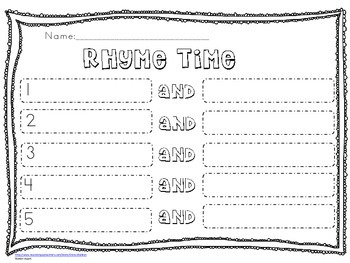 Rhyme Time-short vowel cvc words