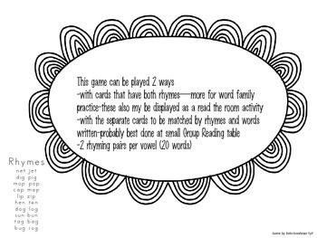 Rhyme Time-short vowel cvc words