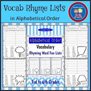Rhyme Vocabulary in ABC Order