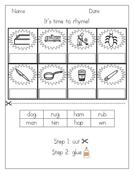 CVC Rhyming Picture Sort Rhyme Worksheet