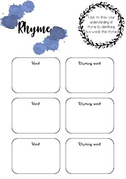 Rhyme pre-assessment - printable resource