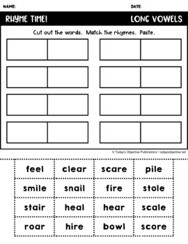Rhymes Long Vowels (Cut and Paste Activities)