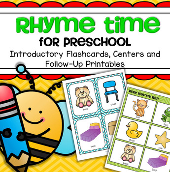 Rhyming Literacy Centers, Games, Flashcards, Printables Pr