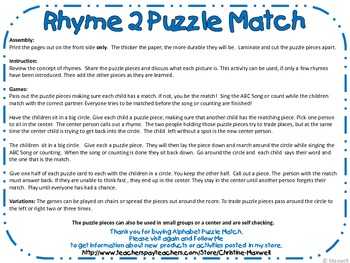 Rhymes 2 Puzzle Match-30 Matches 3 Letter Families