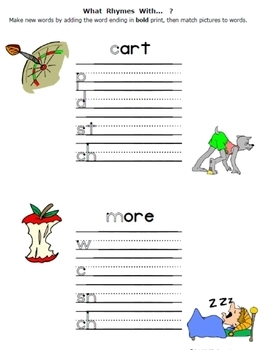 Rhymes Worksheets packet for PreK-1