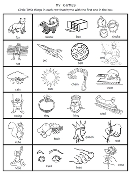 Preschool Rhyming Worksheets | Teachers Pay Teachers