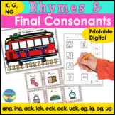 Speech Therapy Picture Activities for Final Consonants & Rhymes  (K,G,NG Sounds)