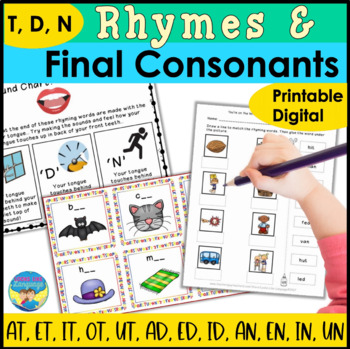 Phonological Awareness Activities: Final Consonant Deletion & Rhymes- T,D,N