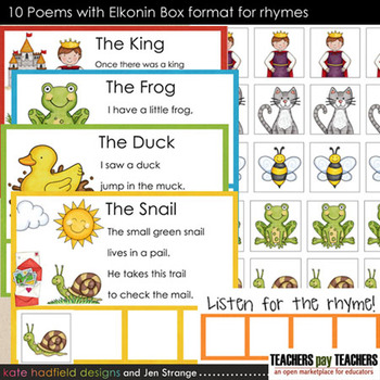 Rhyming Activities - 10 Poems with Elkonin Box format for rhymes