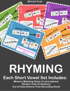 Rhyming Activities- All Vowels: Dominos/Memory