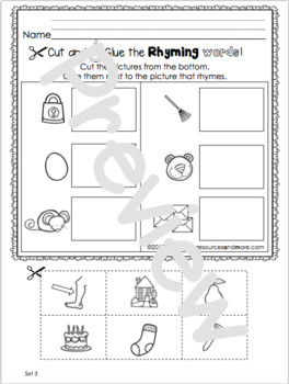 Rhyming Activities - Center and Individual Practice