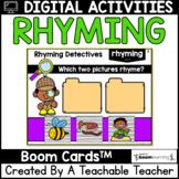 Rhyming Boom Cards   Digital Rhyming Task Cards for Distan