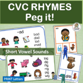 CVC Rhyming Activities and Rhyming Charts with Graphics - Reading Fundamentals