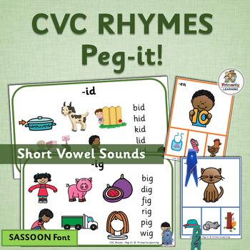 Rhyming Activities: Peg It Cards and CVC Charts - Reading Fundamentals (SASSOON)