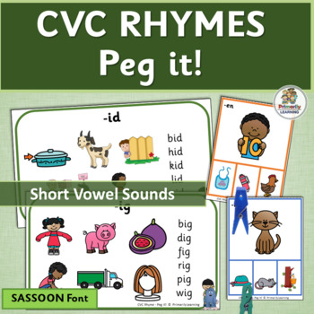 CVC Rhyming Activities and Rhyming Charts with Graphics (SASSOON Font)