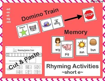 Rhyming Activities- ShortVowel E: Dominos/Memory