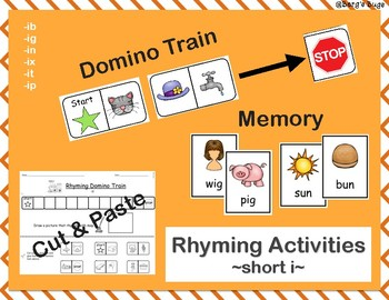 Rhyming Activities- Short Vowel I: Dominos/Memory