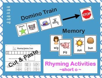 Rhyming Activities- Short O: Dominos/Memory