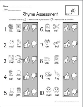 Rhyming Activity & Assessment BUNDLE! - Center Activities - Data Collection