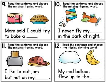 Rhyming Words Write the Room Sentences