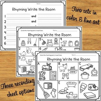 Rhyming Words Activity Picture Cards