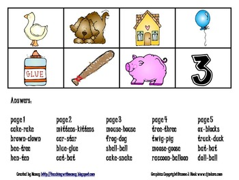 Rhyming Activity Cards (phonological awareness)