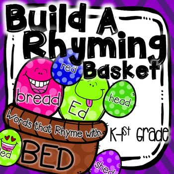 Rhyming Activity for Literacy Centers K-1st Grade