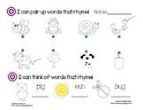 Rhyming Assessment for Kindergarten