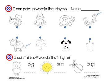 Rhyming Assessment for Kindergarten