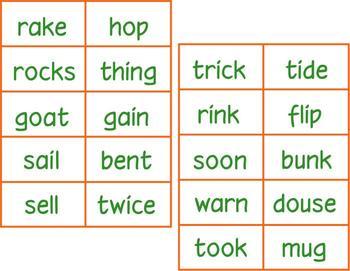 Rhyming Bingo - supplemental word cards