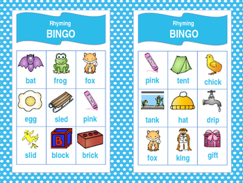 Rhyming Bingo with Short Vowels!