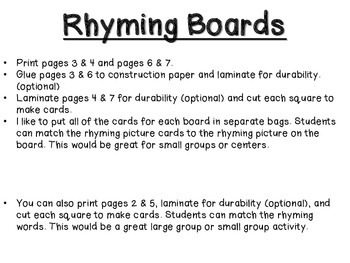 Rhyming Boards