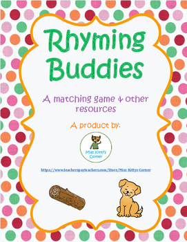 Rhyming Buddies Game and Worksheets