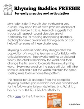 Rhyming Buddies for Articulation of L and Extra Practice Learners