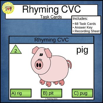 Rhyming CVC Clip Cards