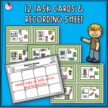 Rhyming CVC Short E Task Cards and Activities
