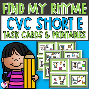 Short Vowel CVC Word Family Rhyme Task Cards and Printables Short E