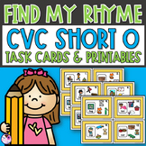 Rhyming Activity Task Cards and Worksheets CVC O