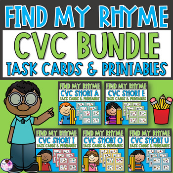 Short Vowel CVC Word Family Rhyme Task Cards and Printables **BUNDLE**