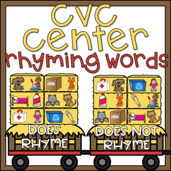 Rhyming CVC Words Center Fall Activity for Kindergarten w/ Ink Saving Option!