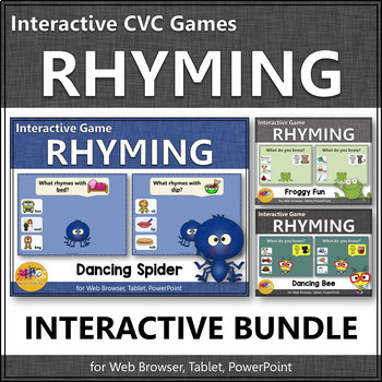 Rhyming CVC Words Interactive Rhyming Games BUNDLE