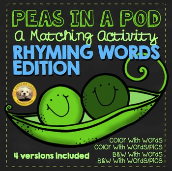 Rhyming CVC Words Visual Matching Activity Cards- 4 versions, 32 Word Pairs