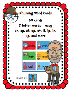 Rhyming Cards Easy (3 letter words)