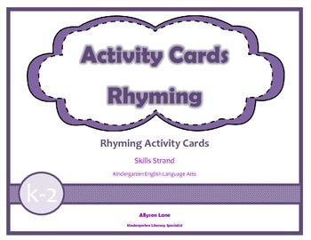 Activity Cards- Rhyming FREEBIE