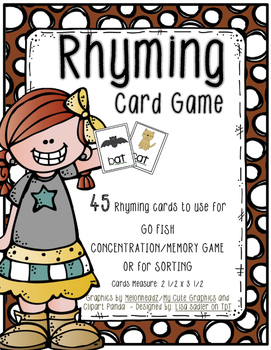 Rhyming Cards for Go Fish - Memory - Sorting
