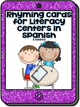 Rhyming Cards for Literacy Centers in Spanish