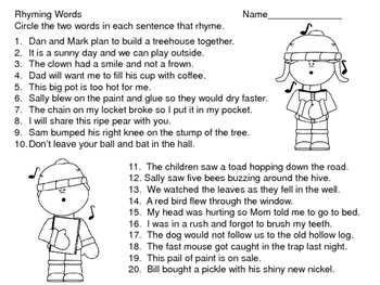 Rhyming Words--Task Cards and More--Christmas Theme