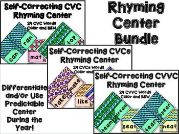 Rhyming Centers Bundle: CVC, CVCe, and CVVC Sets